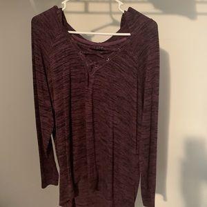 Long sleeve burgundy shirt torrid